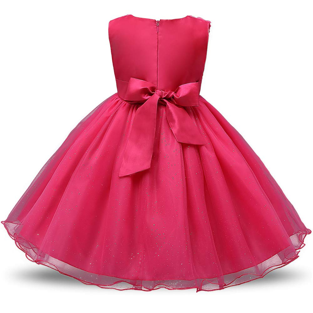 Girls Red Rose Belt Dress Wedding Formal Party.flower girl Christening age 2-3