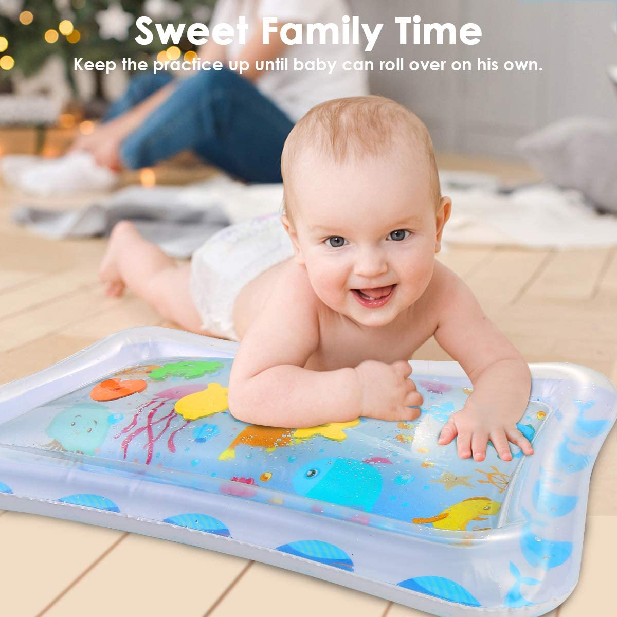 Wallfire Baby Inflatable Water Mat Sea World Infants Toddlers Tummy Time Play Mat Toy with 5 Floating Toys for 3 6 9 Months Newborn Boy Girl