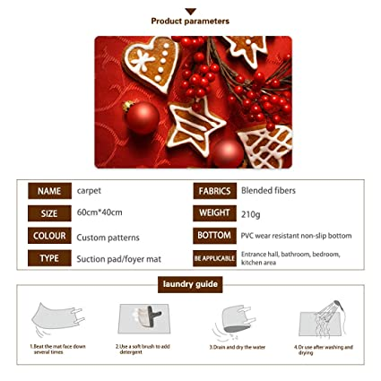 Amazon.com : Hobart Antoinette Merry Christmas Ornament Holiday Rectangle Doormat, Decorative Floor Mat,Durable Rubber Door Mat for Indoor Outdoor, ...