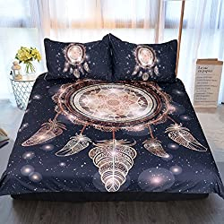 Sleepwish Gold Dream Catcher Bedding Set Boho Dreamcatcher Duvet Cover Tribal Print Bedding Black and Gold Bed Set (Queen)