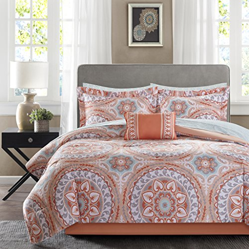Madison Park MPE10-204 Essentials Serenity Complete Bed and Sheet Set Twin Coral (Twin Bed Complete Set)