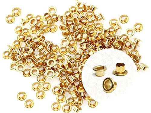Small Hole Top Ear - CRAFTMEmore 2MM Hole 200PCS Tiny Grommets Eyelets Self Backing for Bead Cores, Clothes, Leather, Canvas (Gold)