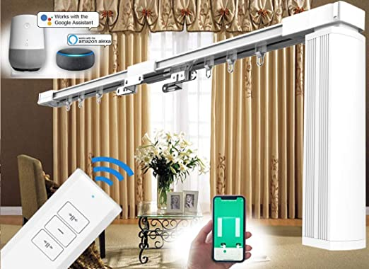 Hc Diy 2 Meter Remote Control Electric Curtain Tracks Ht800ws Motorized Curtain Rods Electric Curtain Remote Control Automatic Electric Curtain Rod Rails For Home Automation 200cm 79 Inch Amazon Co Uk Kitchen Home
