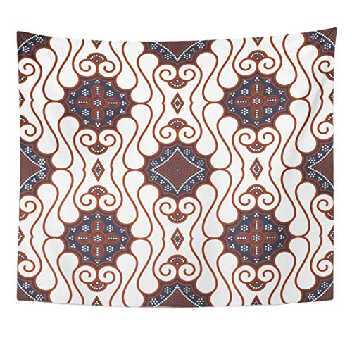 Old Indonesia Batik - Emvency Tapestry Abstract Indonesia Brown Batik Pattern Java Clip Culture East Old Home Decor Wall Hanging for Living Room Bedroom Dorm 50x60 Inches