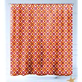 HAIXIA Shower-Curtains Kids Checked Pattern with Dots in Squares Diagonal Geometrical Retro Style Full Marigold Scarlet Sky Blue
