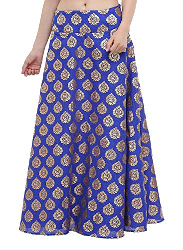 Skirt Silk Dupion Long freesize Block skt928 blue Printed Hand Women's 5YgxTOnn