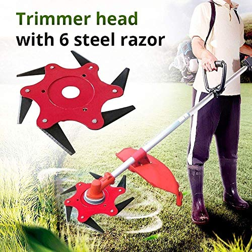 Tokenhigh Outdoor Trimmer Head 6 Steel Razor Trimmer Replacement 65Mn Lawn Mower Head Trimmer Head Cutter Grass Weed Eater Brush Cutter Tool for String Trimmer (Trimmer)