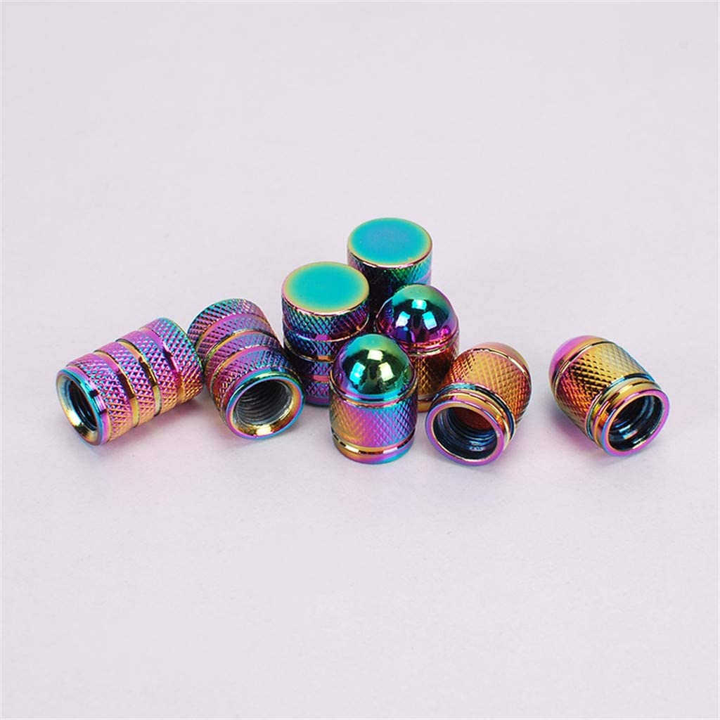 A KAKAT 4pcs Colorful Aluminum Alloy Valve Caps for UK Valve Stem in Cars and Motorcycles Colorful Valve Stem Caps