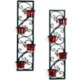 Hosley Set of 2 Decorative Wall Sconce/Candle Holder With Red Glass and Free T-light Candles