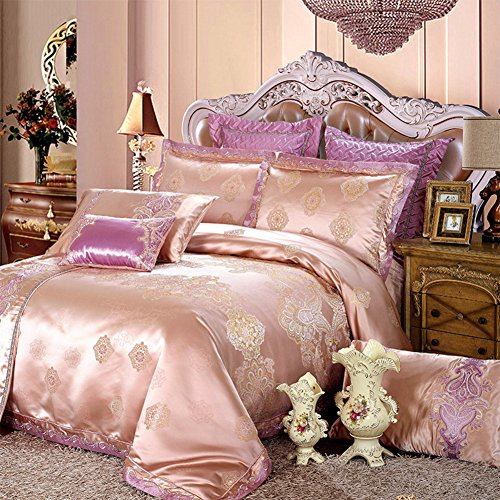 Ladies cotton ten sets bedding duvet cover pastoral floral pattern new home decoration pink-A King hot sale