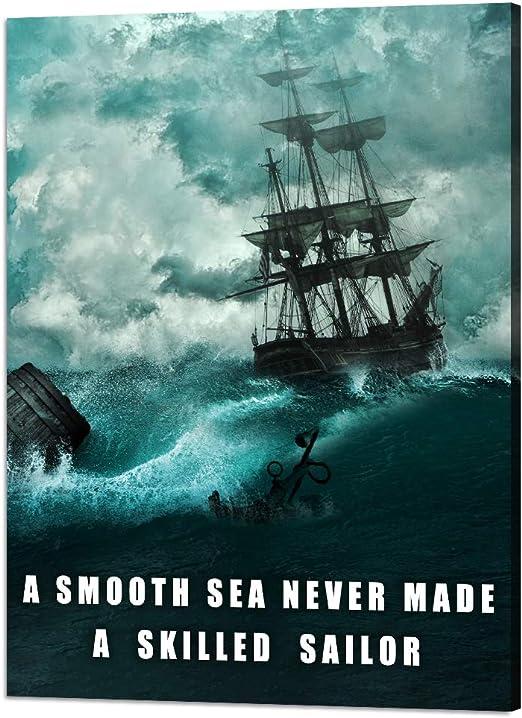 A Smooth Sea Never Made A Skilled Sailor Blue Art Print Nautical Modern Art