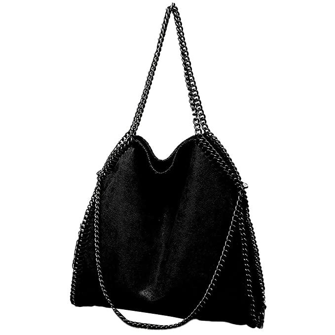 18abfdc486ca2 TOYIS Women Chain Strap Hobo Handbag Large Casual Totes PU Leather Shoulder  Bag for Shopping Travel Daily Use (B style black)(Size  One Size)  Amazon.co .uk  ...