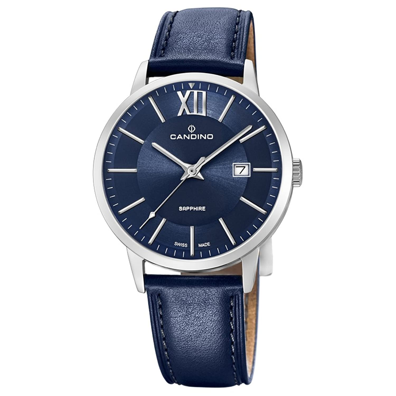 Candino Armbanduhr fÜr Herren Saphir analog Elegant mit Leder-Armband blau Quarz-Uhr UC4618-4