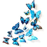 Btbtoc 12PCs PVC Wall Stickers Magnet Butterflies Decorative Wall Art Trio, Hang Indoors or Outdoors