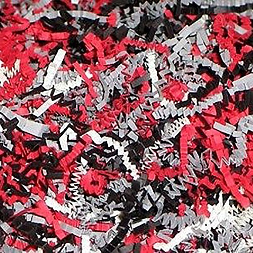 Custom & Unique {12 Ounces} of Crinkle Cut Shredded Gift Basket Filler Paper Made From Cardstock w/ Bright Crimped Modern Fancy Poker Colors Scatter Formal Design (Red, Black, Gray & White)