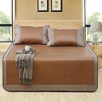 Aimjerry Rattan Mattress Topper Pad Cooling Summer Sleeping Mat and Pillow Shams Sets (Twin, Brown 1)