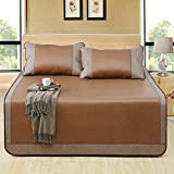 Aimjerry Rattan Mattress Topper Pad Cooling Summer Sleeping Mat and Pillow Shams Sets (Twin, Brown 1)