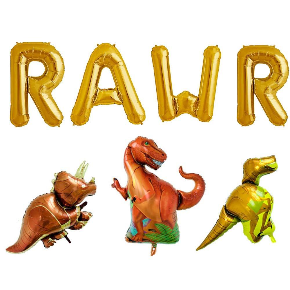 Rose&Wood 16'' Gold RAWR Foil Balloons Dinosaur Balloon Birthday Party