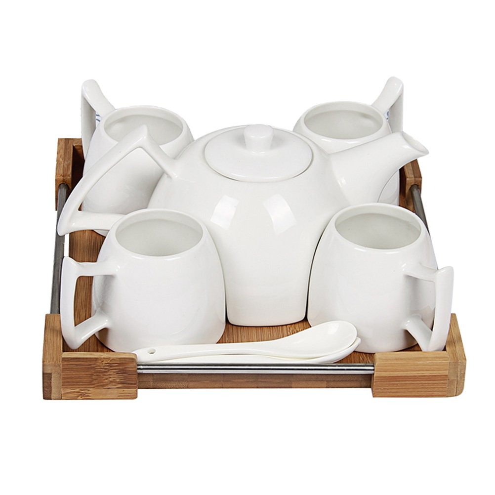 Joint Victory 16.4 oz Teapot and 5.5 oz Tea Cup Ceramic Porcelain Kettle and Mugs with Spoons Filter and Wooden Plate for Coffee,Tea,Cocoa,Milk and Water Set of 11