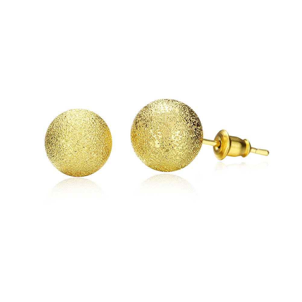 Simple Frosted Ball Bead Stud Earring Golden Tone Wedding Set Birthday Gift For Women Girl