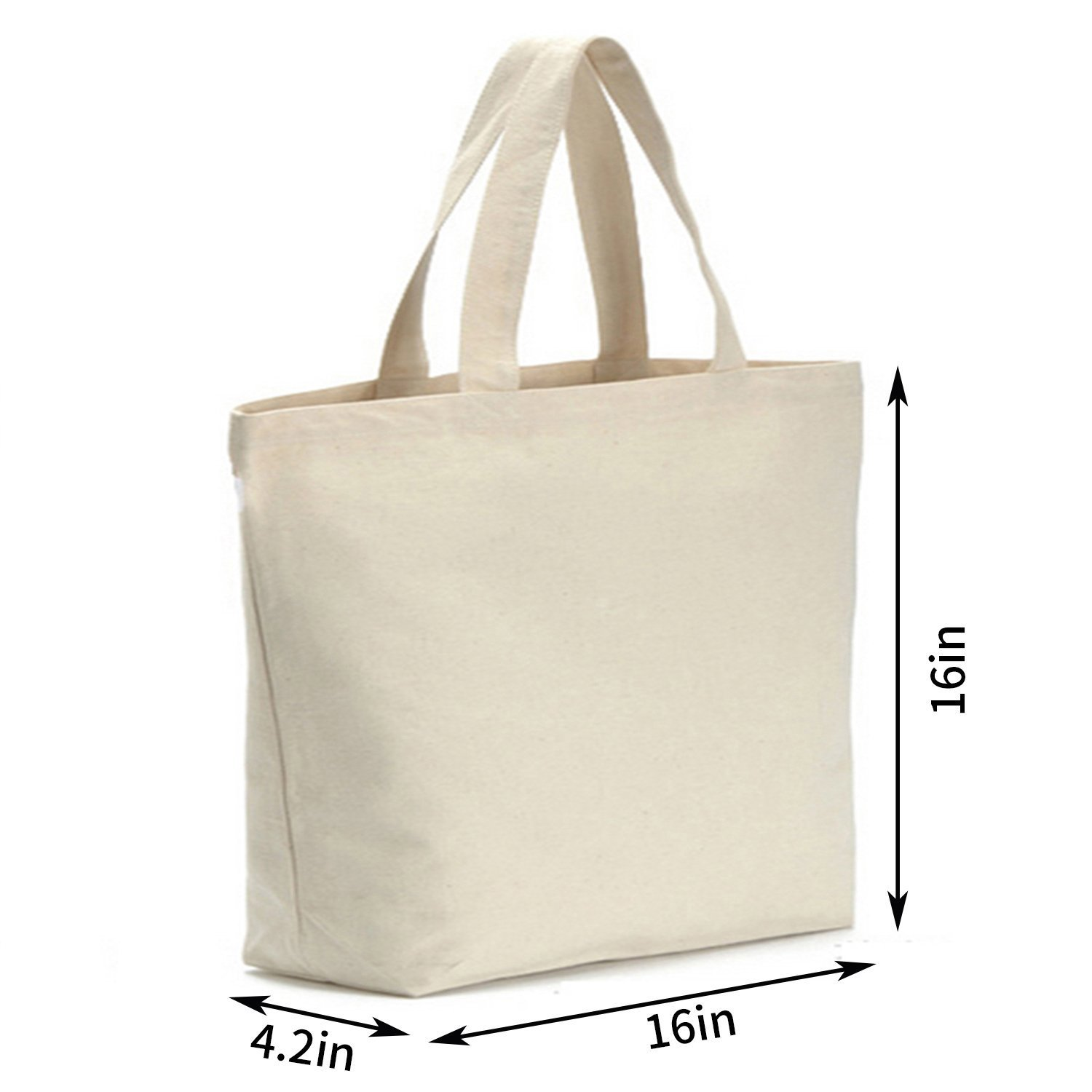 Axe Sickle 12oz Heavy Canvas Tote Bag 16'' W X 16'' H X 4.2'' Bottom Gusset (2 per pack), Tote shopping bag, Washable grocery tote bag, Craft Canvas Bag White, Cloth Bag With Handles. by Axe Sickle (Image #2)