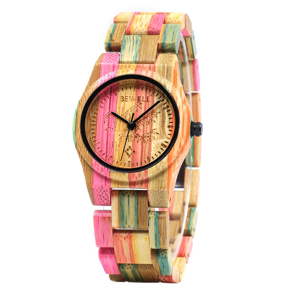Bewell Colorful Bamboo Wrist Watch,Handmade Gift for Women,Girl, Student,Quartz Lightweight Watch with Adjustbale Watchband