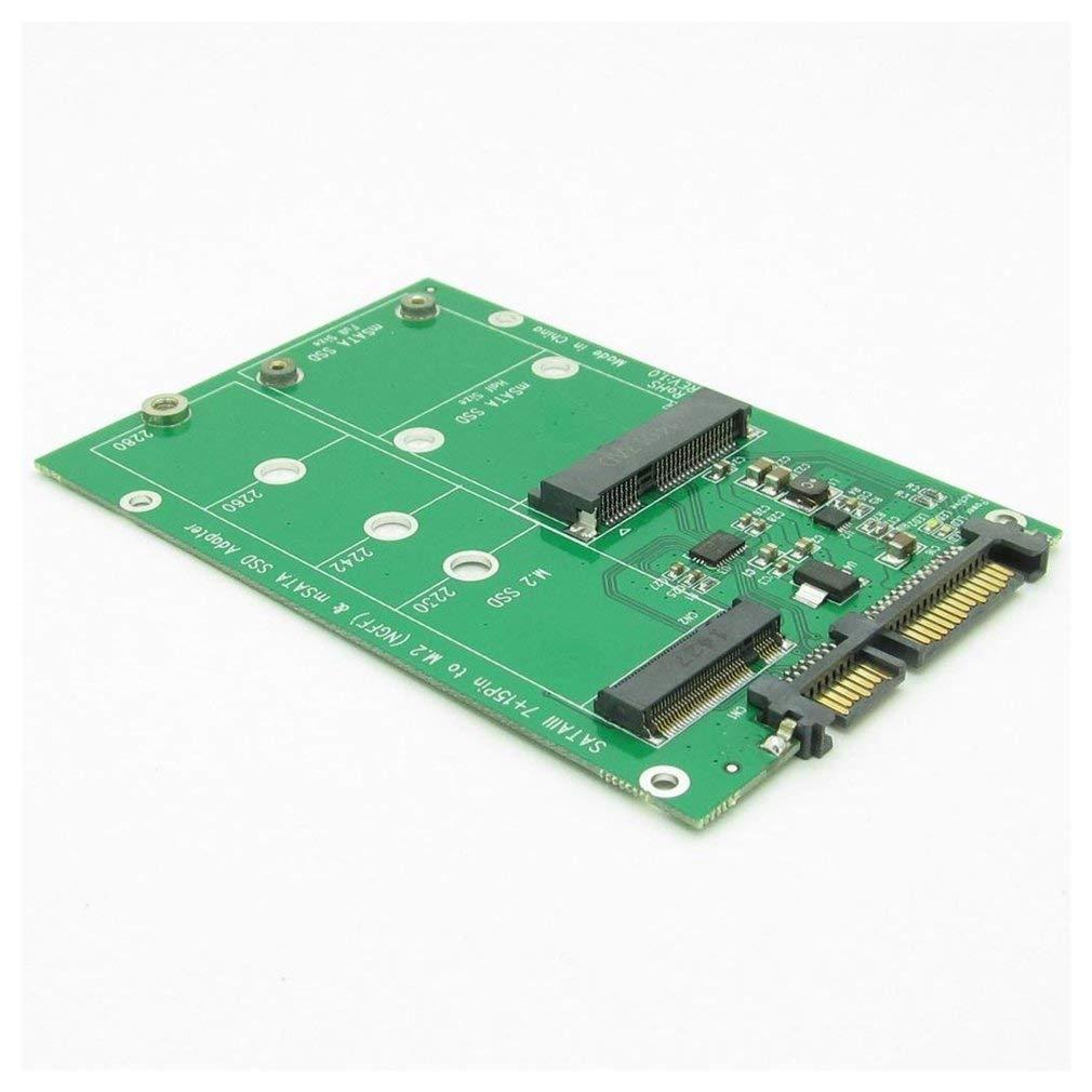 15 Pin a mSATA e NGFF M.2 SSD 2 in 1 Nero Kitechildhiid Convertitore Adattatore Combinato USB 3.0 7