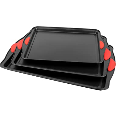 Galashield Nonstick Bakeware Set Pans 3 Piece Baking and Cookie Sheet with Silicone Handles