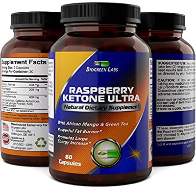 Pure Raspberry Ketones 500 mg - Weight Loss Supplements For Men And Women - Burn Belly Fat + Boost Metabolism & Immune System - Appetite Suppressant + Energy Booster By Biogreen Labs