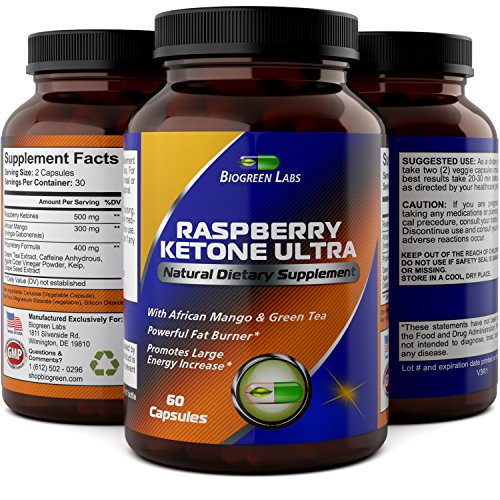 Pure Raspberry Ketones 500 mg - Weight Loss Supplements For Men And Women - Burn Belly Fat  Boost Metabolism & Immune System - Appetite Suppressant  Energy Booster By Biogreen Labs