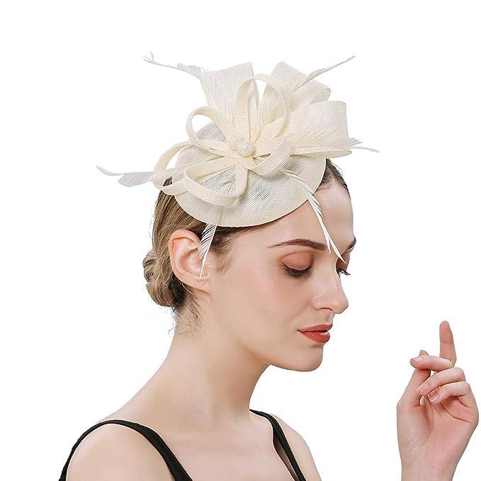 5dccbdc3 Ztl Feather Fascinators Pillbox Hat Cocktail Tea Party Headwear Kentucky  Derby Headband Beige