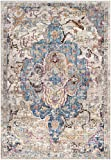 Safavieh Bristol Collection BTL350D Blue and Light Grey Vintage Distressed Medallion Area Rug (8' x 10')