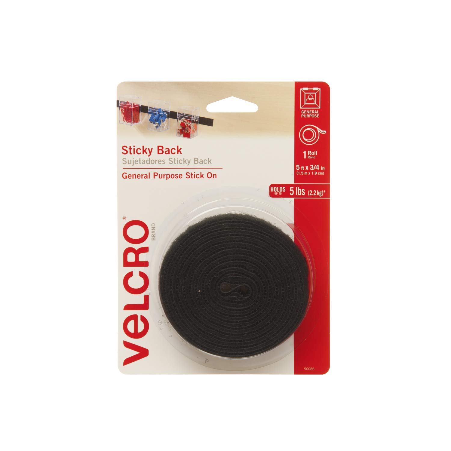 18in x 3//4in Tape Sticky Back Hook and Loop Fasteners VELCRO Brand Perfect for Home or Office Beige General Purpose Peel /& Stick