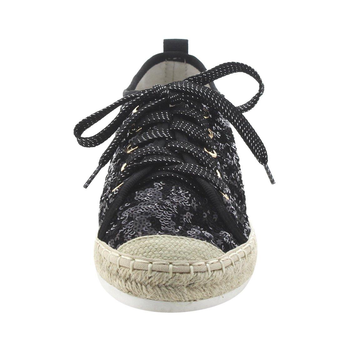 Bonnibel FJ64 Womens Sparking Glitter Espadrilles Lace Up Sneakers