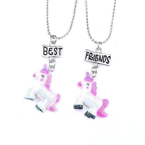 100% autentico fac5f 398c4 Mejores amigas collares para niñas/niños Rainbow unicornio ...