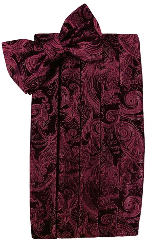 Cardi Mens Tapestry Paisley Bowtie and Cummerbund Set Black