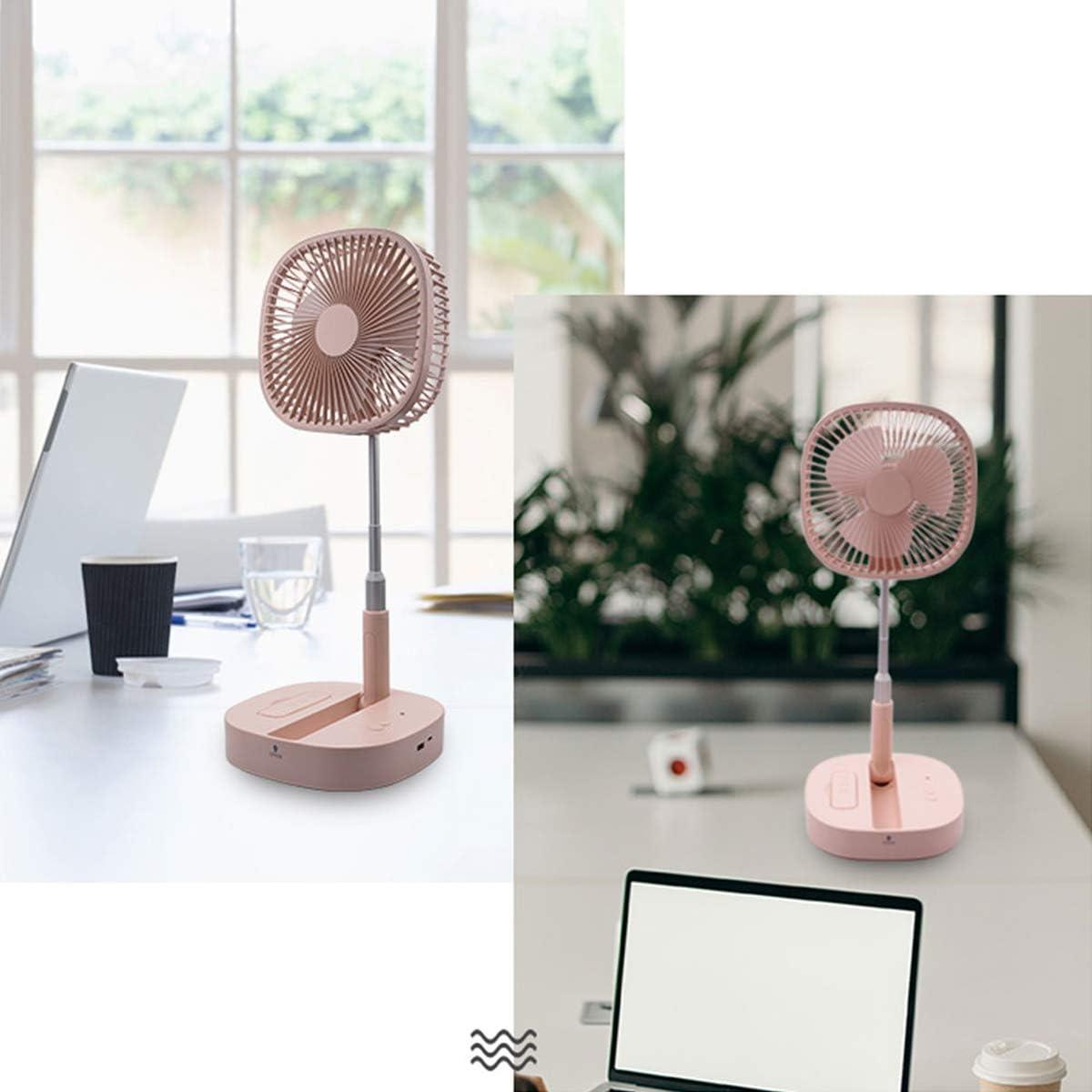 In hoogte verstelbare staande ventilator opvouwbare Oscillerende voetstuk ventilator 4 snelheden USB Desktop Telescopische Koeler voor Home Office Woonkamer Slaapkamer roze roze