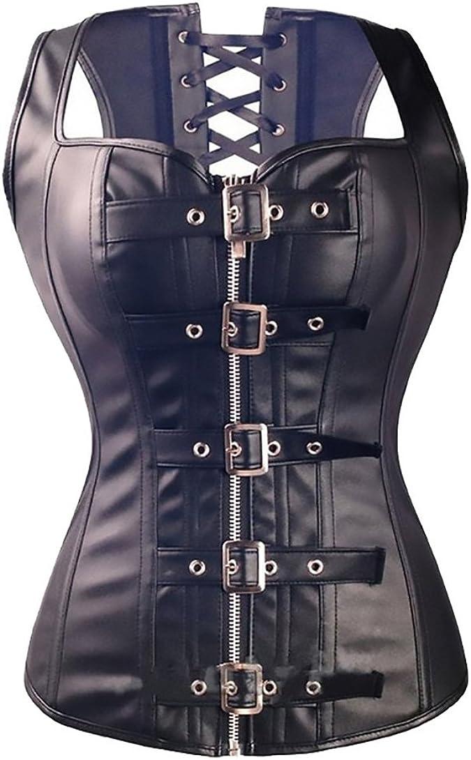 HX fashion Mujer Corsé Cuero De Imitación Vintage Gótico Steampunk Con G-String Cremallera Hebilla Bustier Corsets Negro