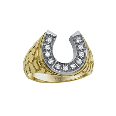 4298e6dc28e4a Men's 14k Two-Tone Gold Diamond Horseshoe with Nugget Sides Ring (1/5 cttw,  HI Color, I1-I2 Clarity)