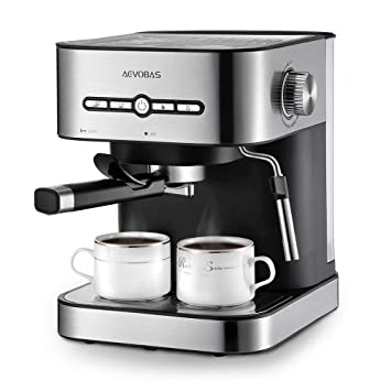 AEVOBAS Cafetera Espresso 15 Bares, Cafetera Cappuccino y Latte, Boquilla de Espuma de Leche