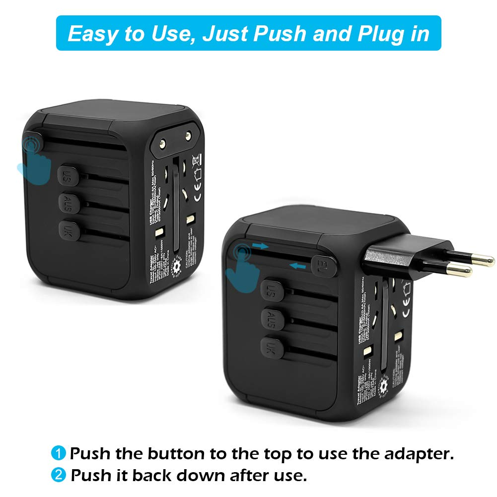 Universal International Travel Adapter with Auto-Reset Fuse, Whew All-in-One Worldwide Power Adapter Travel Plug Adapter, 5A USB Output, 1 Type C, 3 USB for US, UK, EU, AU, 170+ Countries (Black) by Whew (Image #5)
