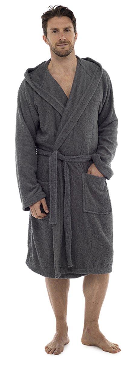 Aumsaa Men Towelling Robe 100 % Cotton Terry Towel Hooded Shawl Collar Bathrobe  Dressing Gown Bath ... c672ad1a1