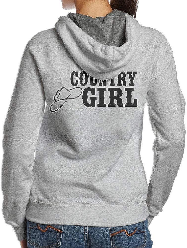Country Girl with Cowboy Hat Womens Casual Long Sleeve Hoodie Sweatshirt Hoodie Pullover