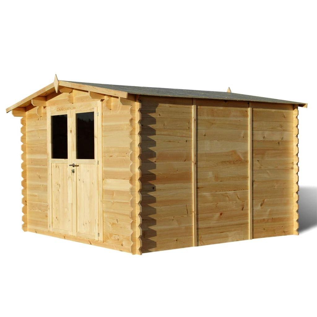 vidaXL–Cobertizo de jardín (madera, 28mm 3x M