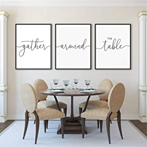 NATVVA Canvas Prints Quote Posters Gather Around The Table Quote Wall Art Painting 3 Pieces Family Signs Artwork Kitchen Dining Wall Decor Framed Ready to Hang