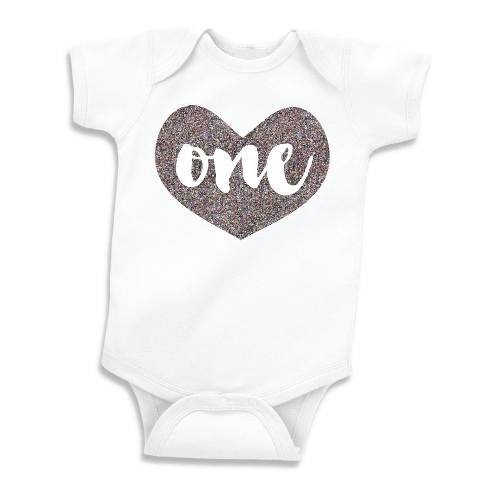 Amazon Girl First Birthday Outfit Baby Girls One Year Old Shirt Glitter Silver 12 18 Months