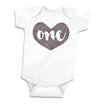 Girl First Birthday Outfit Baby Girls One Year Old Shirt Glitter Silver 12 18 Months
