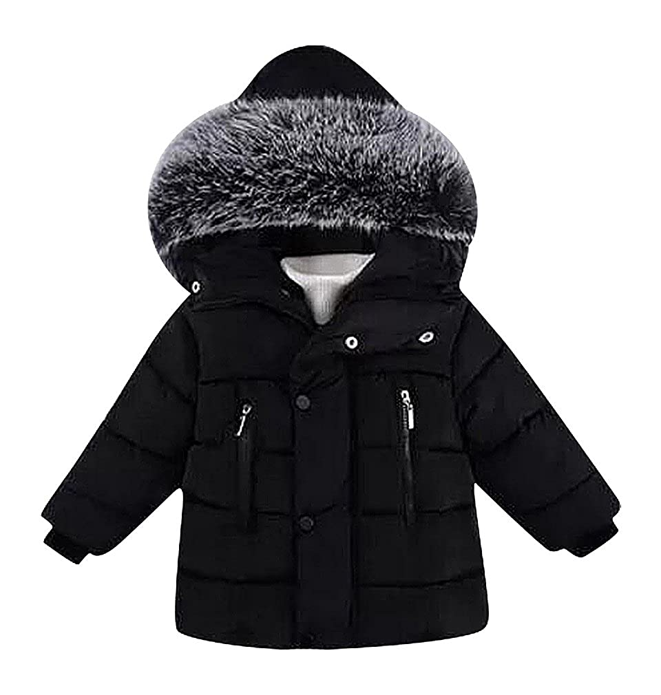 BPrince Kids Red Or Black Zipped Buttoned Quilted Fur Hood Cotton Filled Jacket
