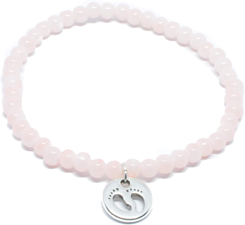 Pulsera de perlas en color rosa con bebé de pies Colgante en plata de selfma deje welry–Fabricado a mano pulsera de cadena de perlas de cristal