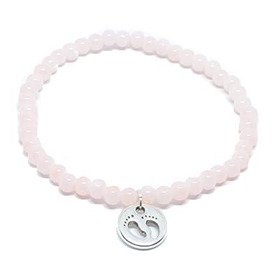 58148a977b57 Pulsera de perlas en color rosa con bebé de pies Colgante en plata de  selfma deje welry - Fabricado a mano pulsera de cadena de perlas de cristal   ...